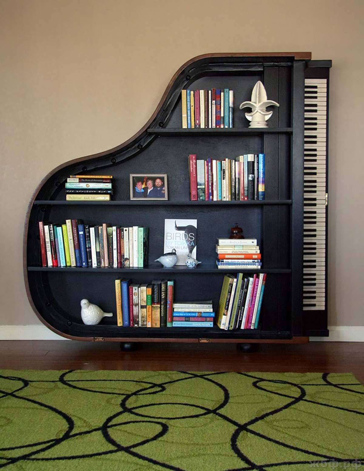 Необычные книжные полки, шкафы и подставки для книг (31 фото.