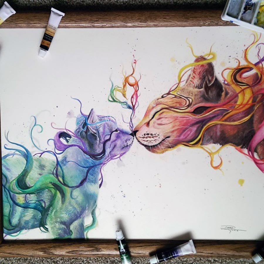 Красиво рисует гуашью